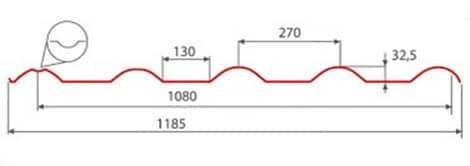 Профиль металлочерепицы Afina