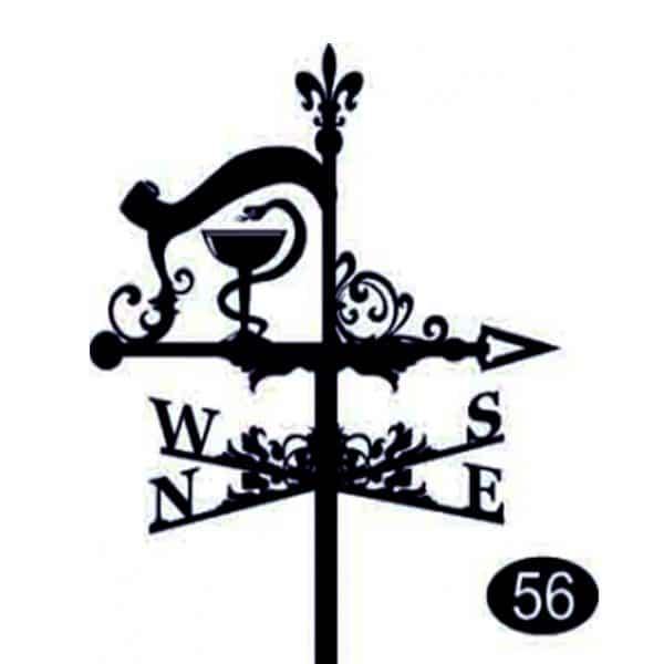 Флюгер на крышу «Чаша со змеей» (символ медицины)