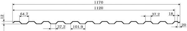Профнастил ГП-12 Алюмоцинк 0,50мм, Китай