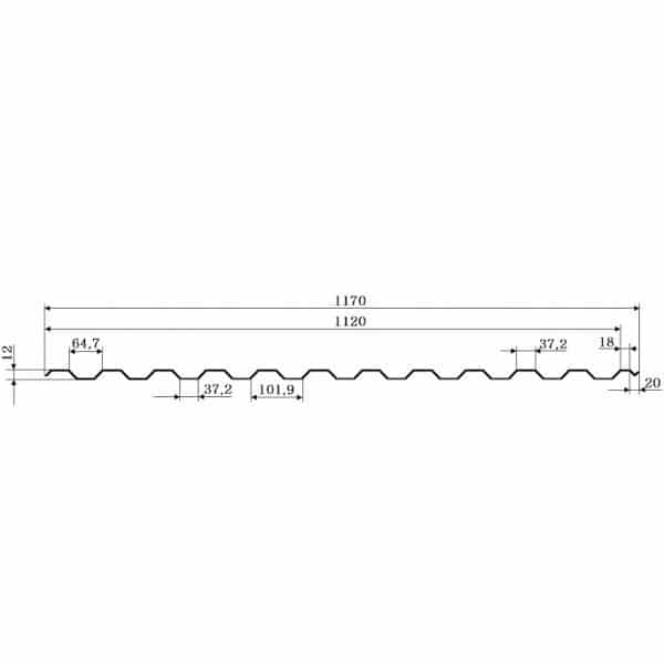 Профнастил ГП-12 РЕMA 0,45мм, Китай