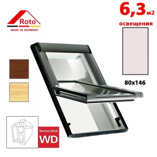 Мансардное окно Roto Designo R65K WD KK/KG 80x146