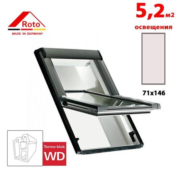 Мансардное окно Roto Designo R65 K WD 71x146
