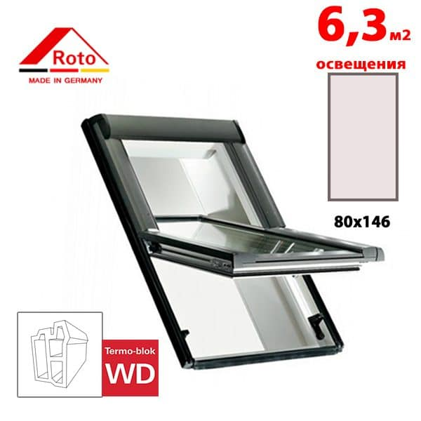 Мансардное окно Roto Designo R65 K WD 80x146