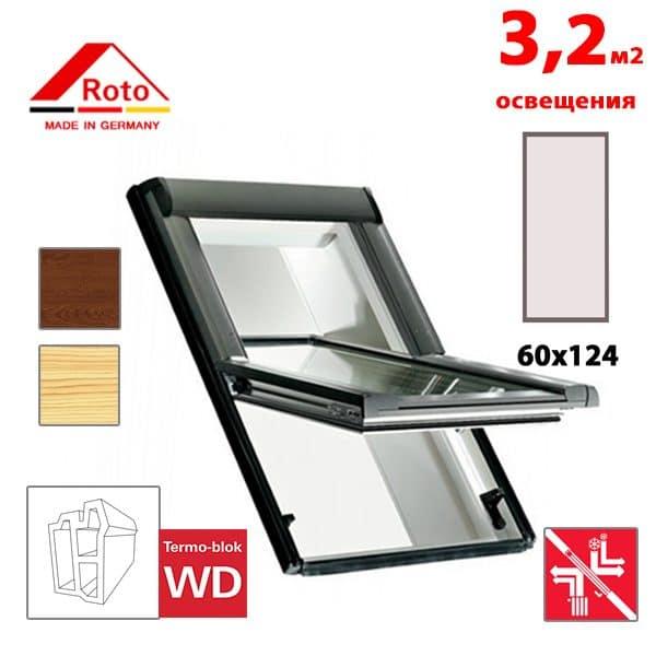 Мансардное окно Roto Designo R69G K WD KK/KG 60x124