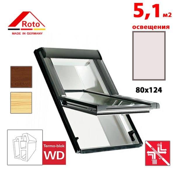 Мансардное окно Roto Designo R69G K WD KK/KG 80x124