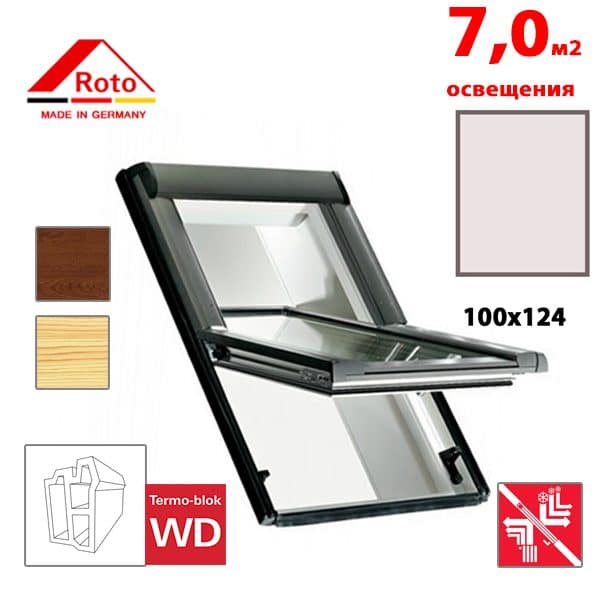 Мансардное окно Roto Designo R69P K WD KK/KG 100x124