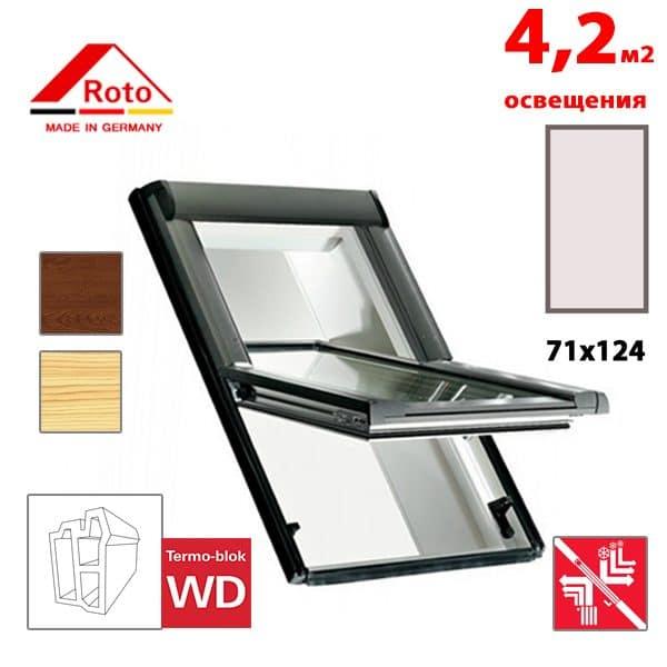 Мансардное окно Roto Designo R69P K WD KK/KG 71x124