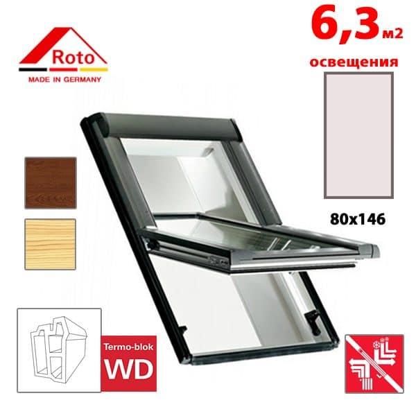 Мансардное окно Roto Designo R69P K WD KK/KG 80x146