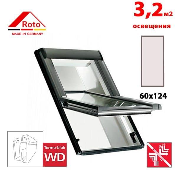 Мансардное окно Roto Designo R69P K WD 60x124