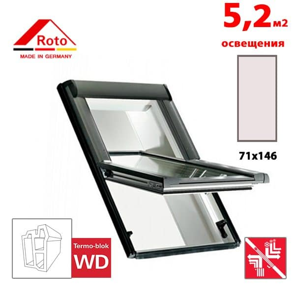Мансардное окно Roto Designo R69P K WD 71x146