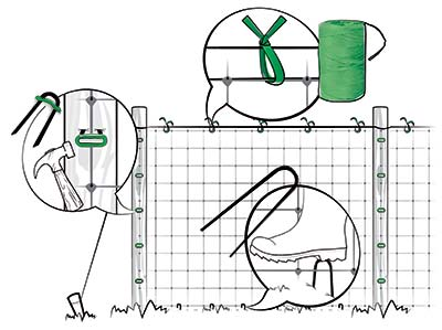 установка сетки для растений