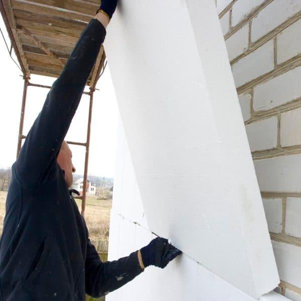 Фасадное утепление пенопластом 100 мм (декор- структурная краска)