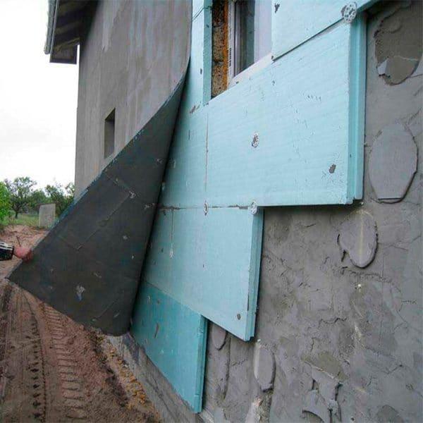 Работы по утеплению фасада экструдером 50 мм (декор: тонированная штукатурка)
