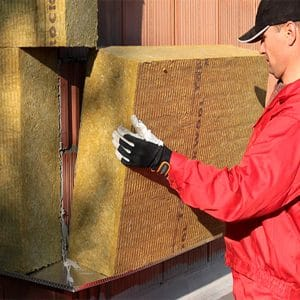 Утепление фасада минеральной ватой 150 мм (декор: тонированная штукатурка)