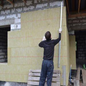 Работы по утеплению фасада минеральной ватой 50 мм (декор- структурная краска)