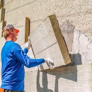 Работы по утеплению фасада минеральной ватой 100 мм (без финишного покрытия)