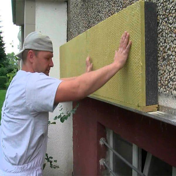 Фасадное утепление минеральной ватой 100 мм (декор: минеральная штукатурка+ краска)