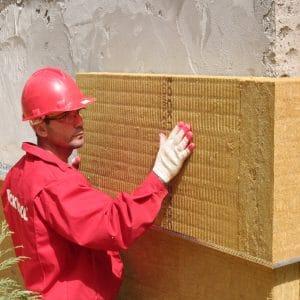 Работы по утеплению фасада минеральной ватой 100 мм (декор: тонированная штукатурка)