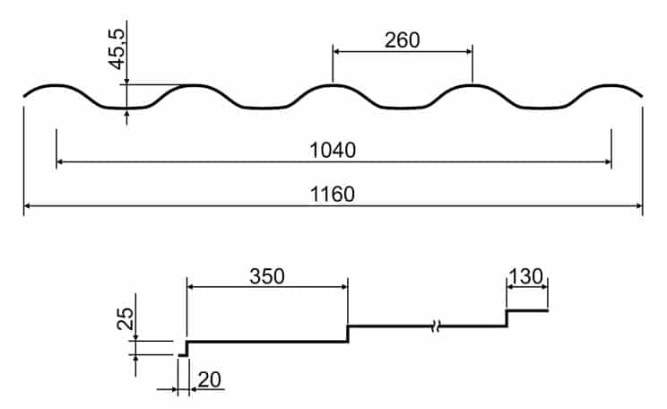 Металлочерепица Integra 25 1160/1040 мм, (ARVEDI - Італія), matt